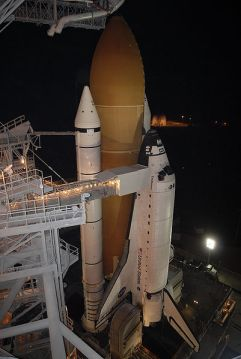 Space shuttle with PU insulated cryogenic fuel tank.