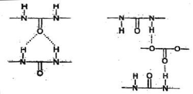 Bi-dentate H-bonds between polurea molecules (left) disrupted by a polycarbonate group (right)