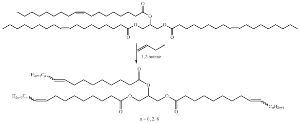 Metathesis reaction of triolein with butene